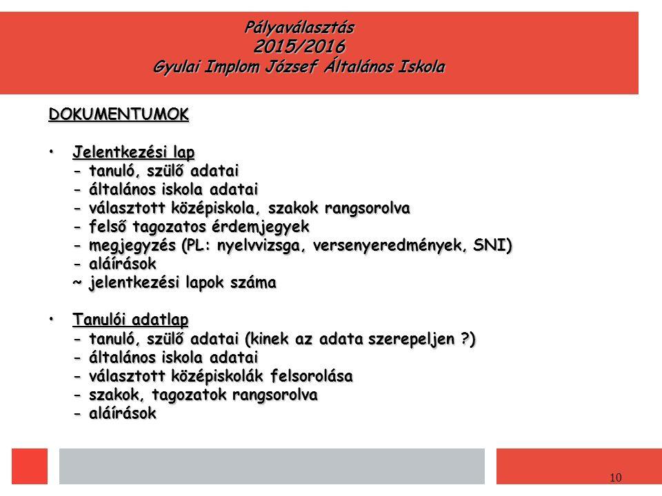 10 Pályaválasztás 2015/2016 Gyulai Implom József Általános Iskola DOKUMENTUMOK Jelentkezési lapJelentkezési lap - tanuló, szülő adatai - általános iskola adatai - választott középiskola, szakok rangsorolva - felső tagozatos érdemjegyek - megjegyzés (PL: nyelvvizsga, versenyeredmények, SNI) - aláírások ~ jelentkezési lapok száma Tanulói adatlapTanulói adatlap - tanuló, szülő adatai (kinek az adata szerepeljen ) - általános iskola adatai - választott középiskolák felsorolása - szakok, tagozatok rangsorolva - aláírások