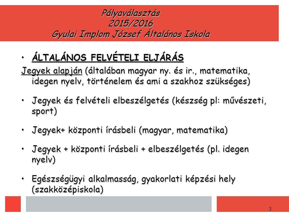 3 Pályaválasztás 2015/2016 Gyulai Implom József Általános Iskola ÁLTALÁNOS FELVÉTELI ELJÁRÁSÁLTALÁNOS FELVÉTELI ELJÁRÁS Jegyek alapján (általában magyar ny.
