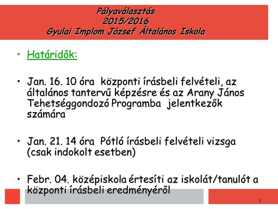 5 Pályaválasztás 2015/2016 Gyulai Implom József Általános Iskola Határidők:Határidők: Jan.