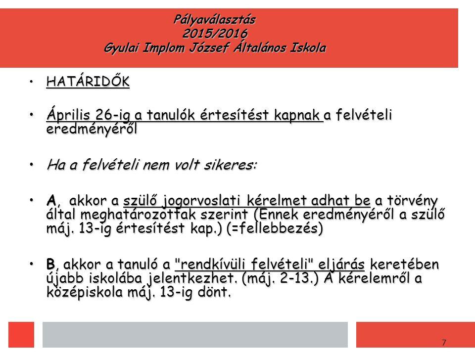 7 Pályaválasztás 2015/2016 Gyulai Implom József Általános Iskola HATÁRIDŐKHATÁRIDŐK Április 26-ig a tanulók értesítést kapnak a felvételi eredményérőlÁprilis 26-ig a tanulók értesítést kapnak a felvételi eredményéről Ha a felvételi nem volt sikeres:Ha a felvételi nem volt sikeres: A, akkor a szülő jogorvoslati kérelmet adhat be a törvény által meghatározottak szerint (Ennek eredményéről a szülő máj.