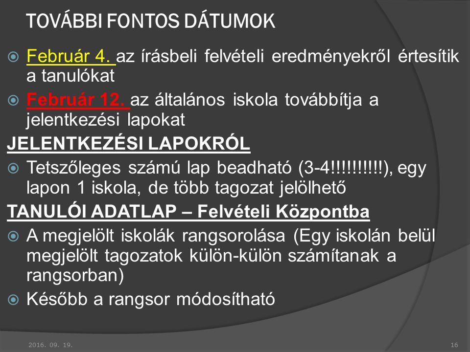 TOVÁBBI FONTOS DÁTUMOK  Február 4.