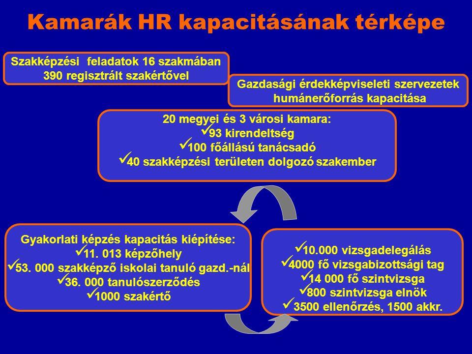 Szakképzési feladatok 16 szakmában 390 regisztrált szakértővel Kamarák HR kapacitásának térképe 20 megyei és 3 városi kamara: 93 kirendeltség 100 főállású tanácsadó 40 szakképzési területen dolgozó szakember Gyakorlati képzés kapacitás kiépítése: 11.