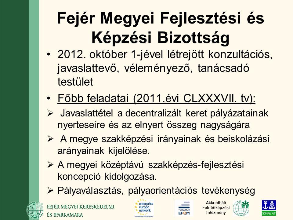 Akkreditált Felnőttképzési Intézmény Fejér Megyei Fejlesztési és Képzési Bizottság 2012.