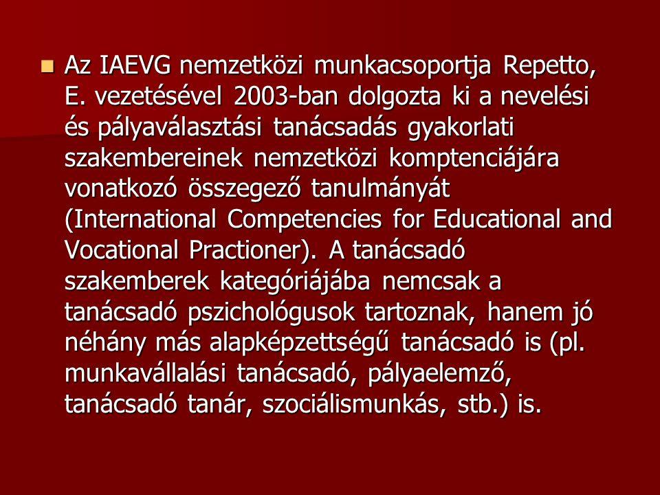 Az IAEVG nemzetközi munkacsoportja Repetto, E. vezetésével 2003-ban dolgozta ki a nevelési és pályaválasztási tanácsadás gyakorlati szakembereinek nem
