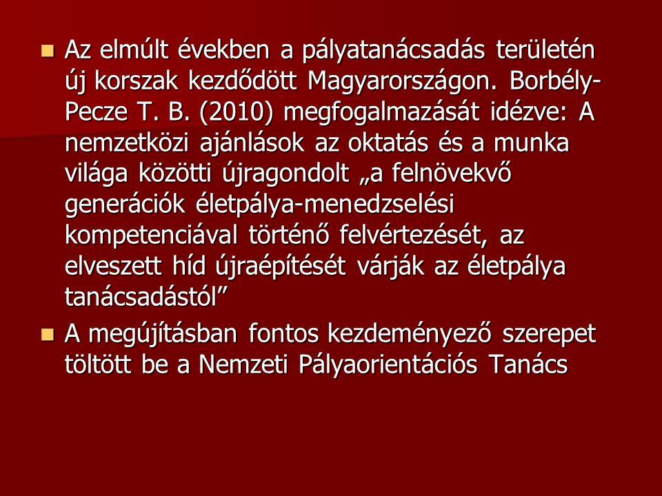Az elmúlt években a pályatanácsadás területén új korszak kezdődött Magyarországon. Borbély- Pecze T. B. (2010) megfogalmazását idézve: A nemzetközi aj