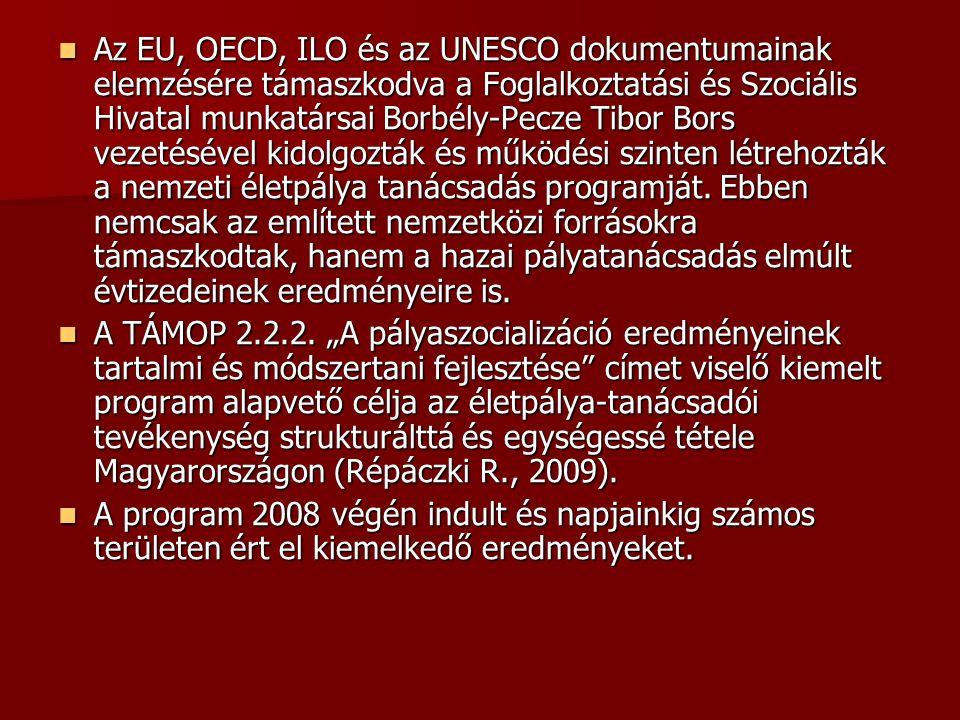 Az EU, OECD, ILO és az UNESCO dokumentumainak elemzésére támaszkodva a Foglalkoztatási és Szociális Hivatal munkatársai Borbély-Pecze Tibor Bors vezetésével kidolgozták és működési szinten létrehozták a nemzeti életpálya tanácsadás programját.