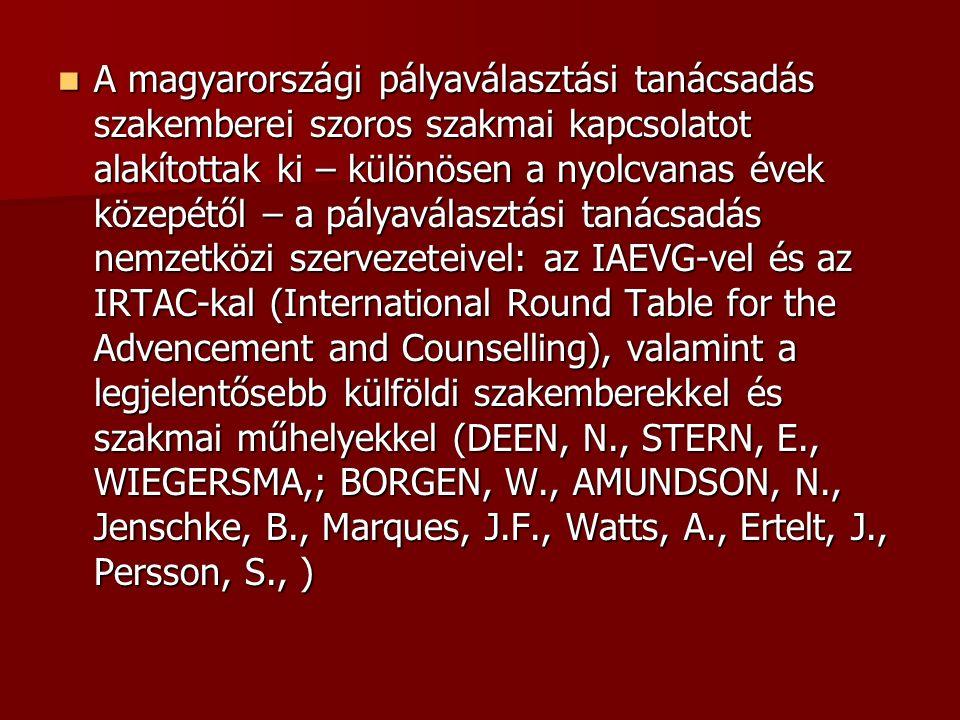 A magyarországi pályaválasztási tanácsadás szakemberei szoros szakmai kapcsolatot alakítottak ki – különösen a nyolcvanas évek közepétől – a pályaválasztási tanácsadás nemzetközi szervezeteivel: az IAEVG-vel és az IRTAC-kal (International Round Table for the Advencement and Counselling), valamint a legjelentősebb külföldi szakemberekkel és szakmai műhelyekkel (DEEN, N., STERN, E., WIEGERSMA,; BORGEN, W., AMUNDSON, N., Jenschke, B., Marques, J.F., Watts, A., Ertelt, J., Persson, S., ) A magyarországi pályaválasztási tanácsadás szakemberei szoros szakmai kapcsolatot alakítottak ki – különösen a nyolcvanas évek közepétől – a pályaválasztási tanácsadás nemzetközi szervezeteivel: az IAEVG-vel és az IRTAC-kal (International Round Table for the Advencement and Counselling), valamint a legjelentősebb külföldi szakemberekkel és szakmai műhelyekkel (DEEN, N., STERN, E., WIEGERSMA,; BORGEN, W., AMUNDSON, N., Jenschke, B., Marques, J.F., Watts, A., Ertelt, J., Persson, S., )