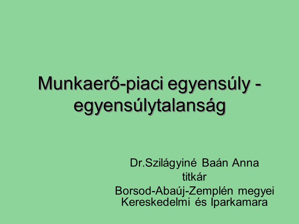 Munkaerő-piaci egyensúly - egyensúlytalanság Dr.Szilágyiné Baán Anna titkár Borsod-Abaúj-Zemplén megyei Kereskedelmi és Iparkamara