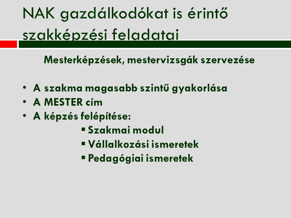 NAK gazdálkodókat is érintő szakképzési feladatai Mesterképzések, mestervizsgák szervezése A szakma magasabb szintű gyakorlása A MESTER cím A képzés f