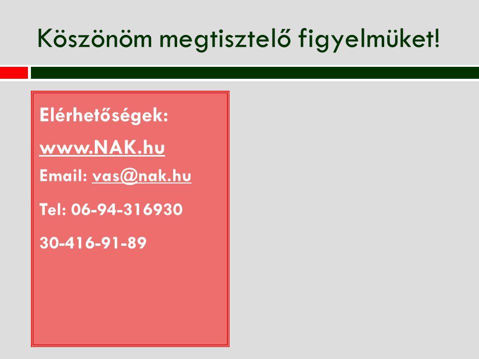 Köszönöm megtisztelő figyelmüket! Elérhetőségek: www.NAK.hu Email: vas@nak.huvas@nak.hu Tel: 06-94-316930 30-416-91-89