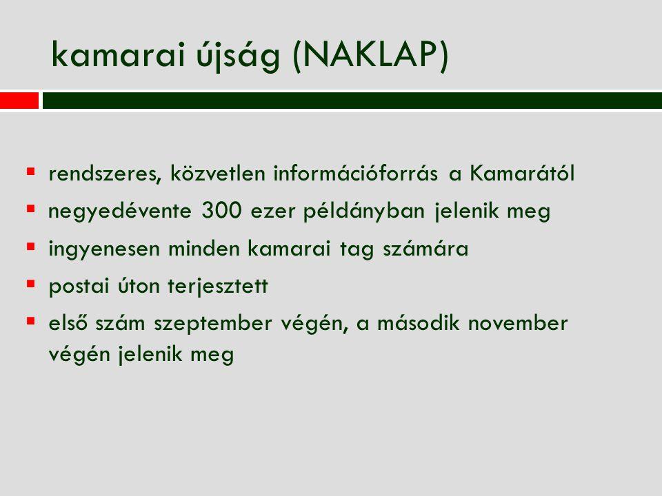 kamarai újság (NAKLAP)  rendszeres, közvetlen információforrás a Kamarától  negyedévente 300 ezer példányban jelenik meg  ingyenesen minden kamarai tag számára  postai úton terjesztett  első szám szeptember végén, a második november végén jelenik meg