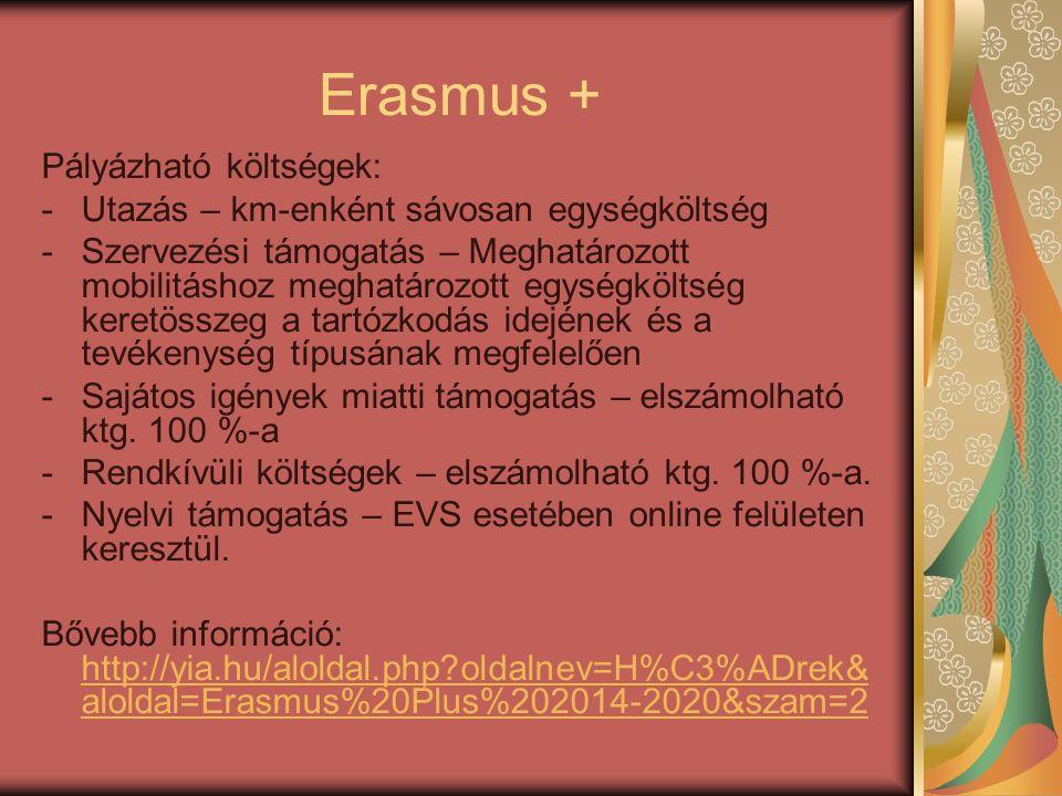 Erasmus + Pályázható költségek: -Utazás – km-enként sávosan egységköltség -Szervezési támogatás – Meghatározott mobilitáshoz meghatározott egységköltség keretösszeg a tartózkodás idejének és a tevékenység típusának megfelelően -Sajátos igények miatti támogatás – elszámolható ktg.