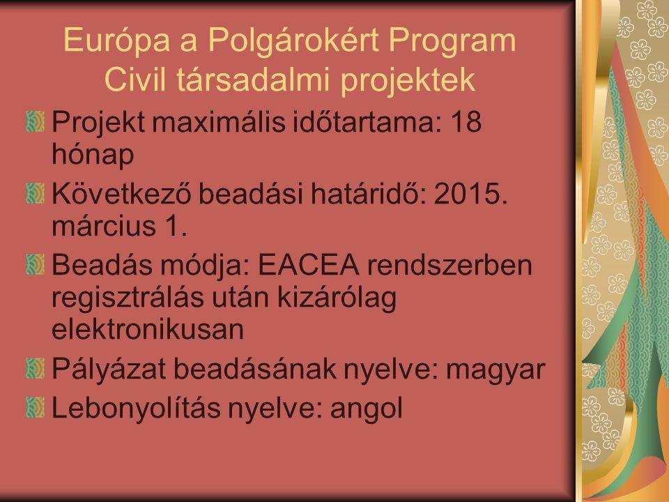 Európa a Polgárokért Program Civil társadalmi projektek Projekt maximális időtartama: 18 hónap Következő beadási határidő: 2015. március 1. Beadás mód