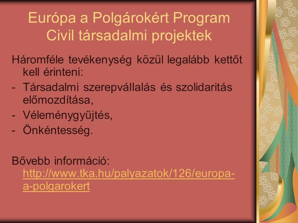 Európa a Polgárokért Program Civil társadalmi projektek Háromféle tevékenység közül legalább kettőt kell érinteni: -Társadalmi szerepvállalás és szolidaritás előmozdítása, -Véleménygyűjtés, -Önkéntesség.