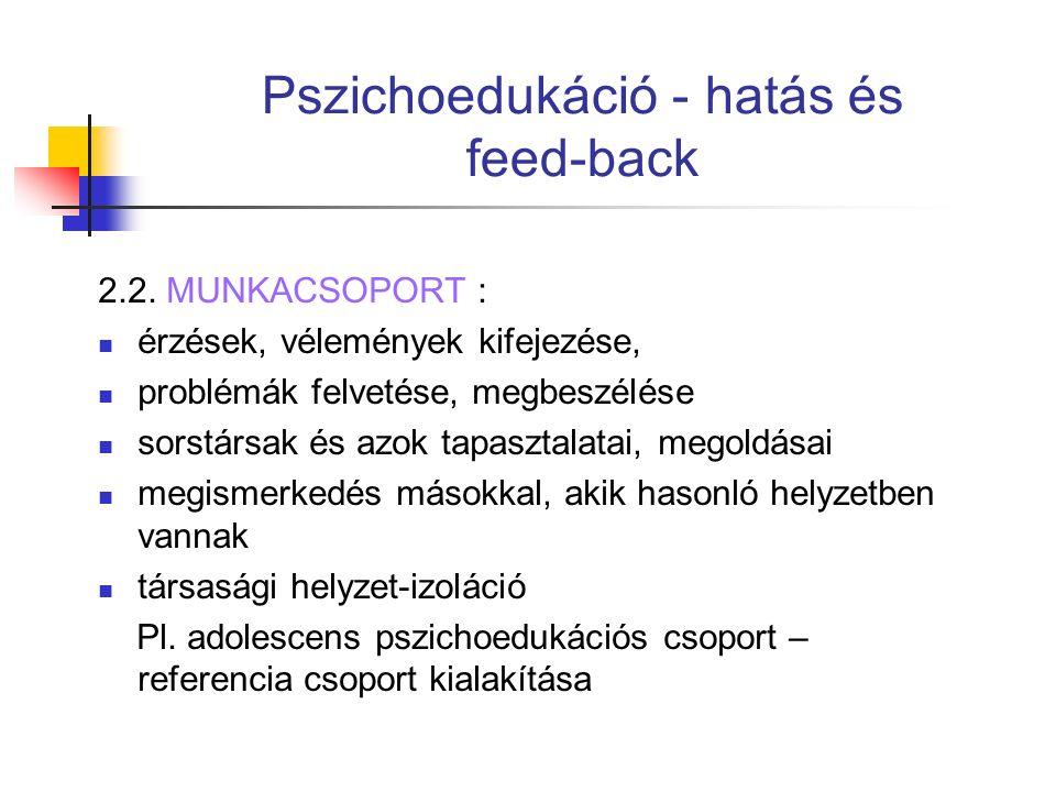 Pszichoedukáció - hatás és feed-back 2.2.