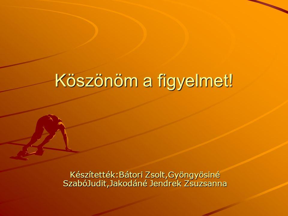 Köszönöm a figyelmet! Készítették:Bátori Zsolt,Gyöngyösiné SzabóJudit,Jakodáné Jendrek Zsuzsanna