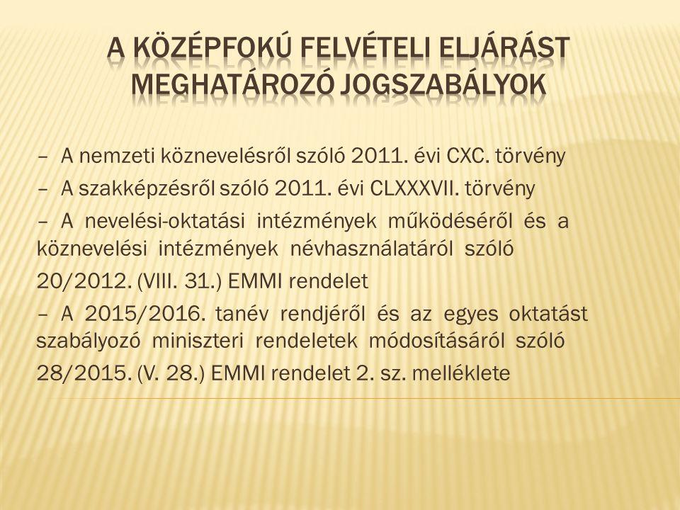 – A nemzeti köznevelésről szóló 2011. évi CXC. törvény – A szakképzésről szóló 2011.