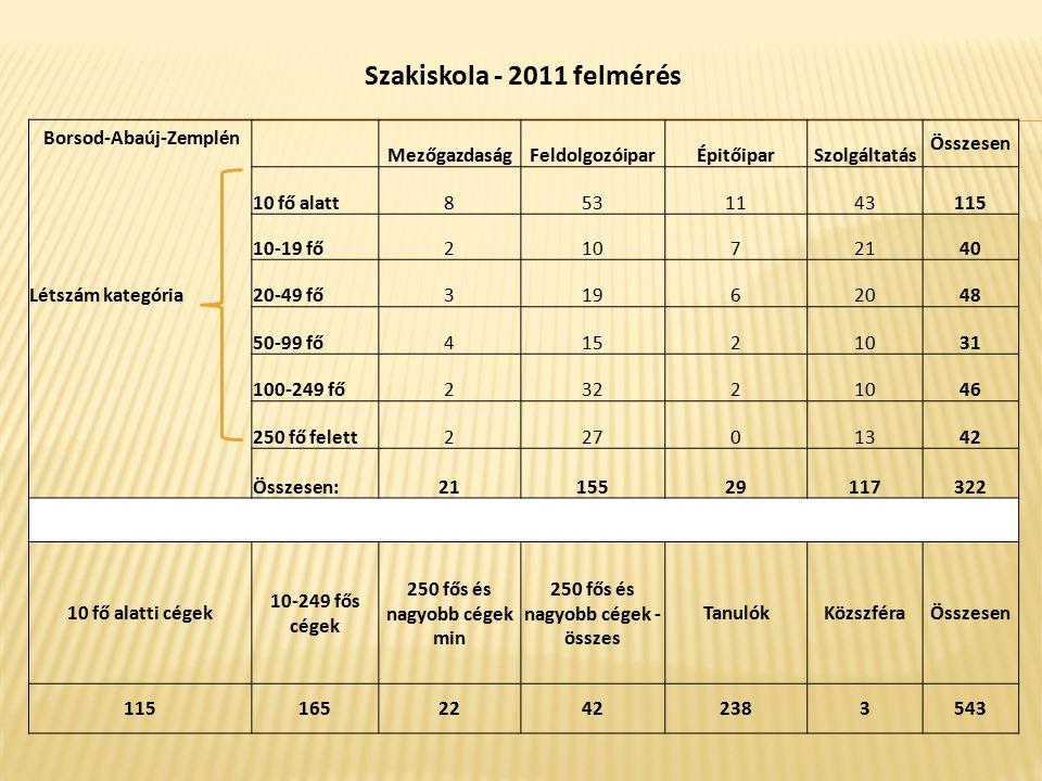 Szakiskola - 2011 felmérés Borsod-Abaúj-Zemplén MezőgazdaságFeldolgozóiparÉpitőiparSzolgáltatás Összesen 10 fő alatt8531143115 10-19 fő21072140 Létszá
