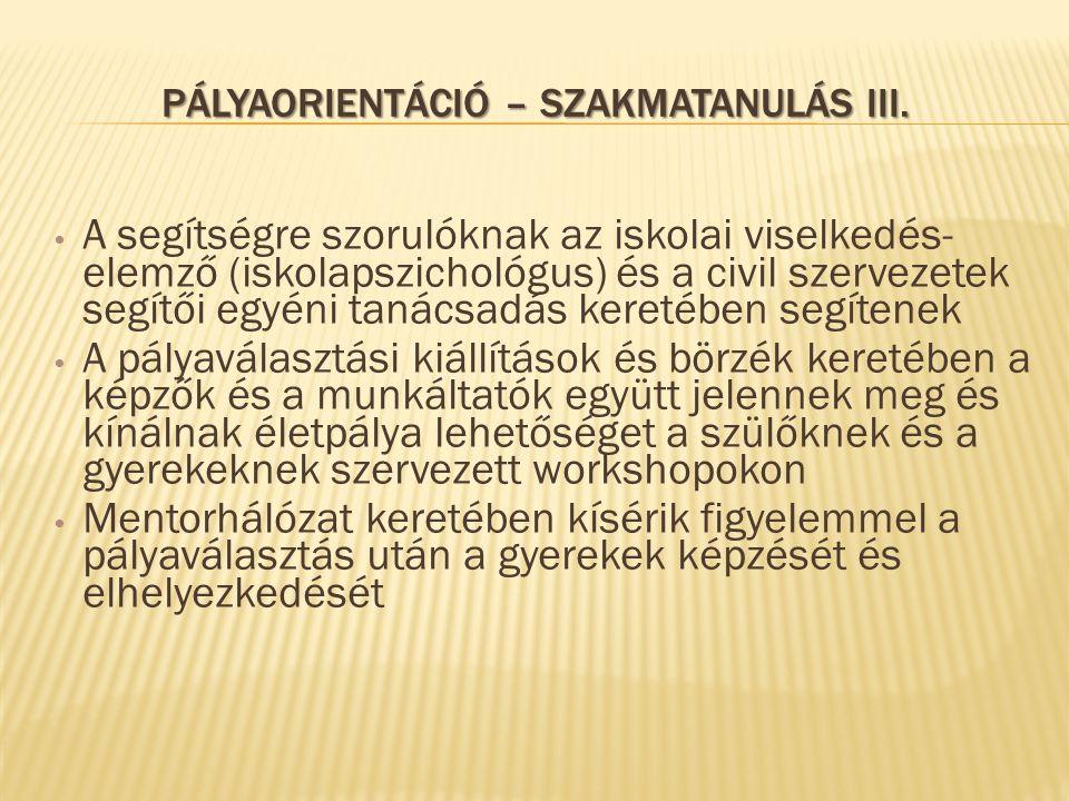 PÁLYAORIENTÁCIÓ – SZAKMATANULÁS III. A segítségre szorulóknak az iskolai viselkedés- elemző (iskolapszichológus) és a civil szervezetek segítői egyéni