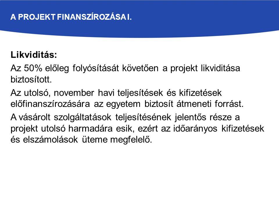 Likviditás: Az 50% előleg folyósítását követően a projekt likviditása biztosított. Az utolsó, november havi teljesítések és kifizetések előfinanszíroz