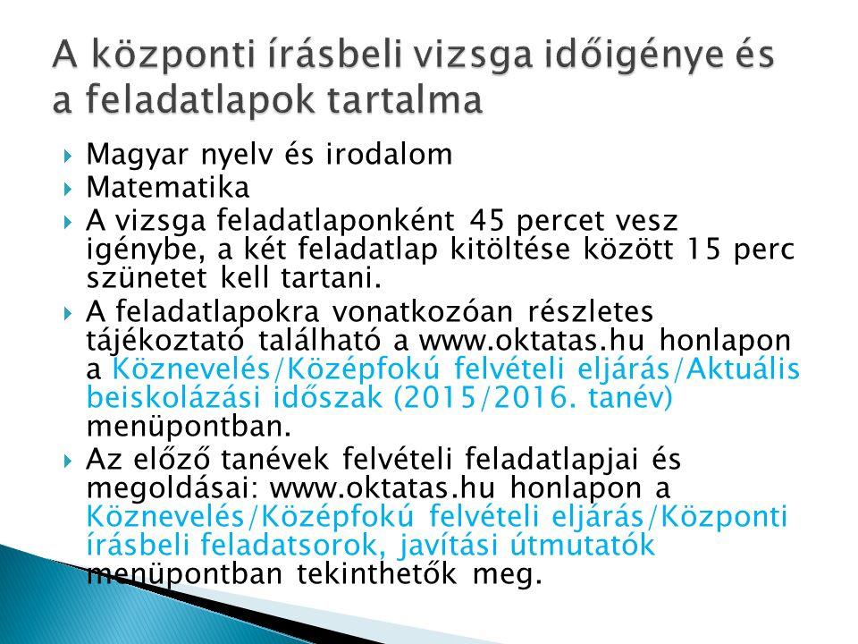  Magyar nyelv és irodalom  Matematika  A vizsga feladatlaponként 45 percet vesz igénybe, a két feladatlap kitöltése között 15 perc szünetet kell tartani.