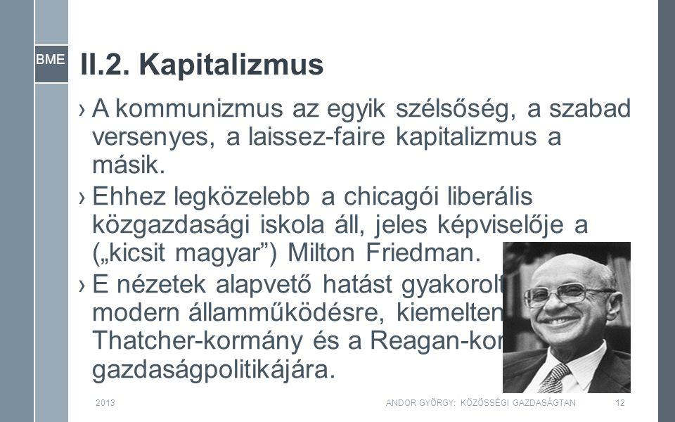 BME II.2. Kapitalizmus ›A kommunizmus az egyik szélsőség, a szabad versenyes, a laissez-faire kapitalizmus a másik. ›Ehhez legközelebb a chicagói libe
