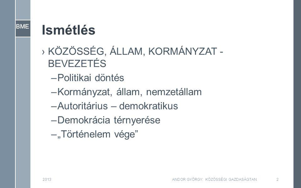 """BME Ismétlés ›KÖZÖSSÉG, ÁLLAM, KORMÁNYZAT - BEVEZETÉS –Politikai döntés –Kormányzat, állam, nemzetállam –Autoritárius – demokratikus –Demokrácia térnyerése –""""Történelem vége 2013ANDOR GYÖRGY: KÖZÖSSÉGI GAZDASÁGTAN2"""
