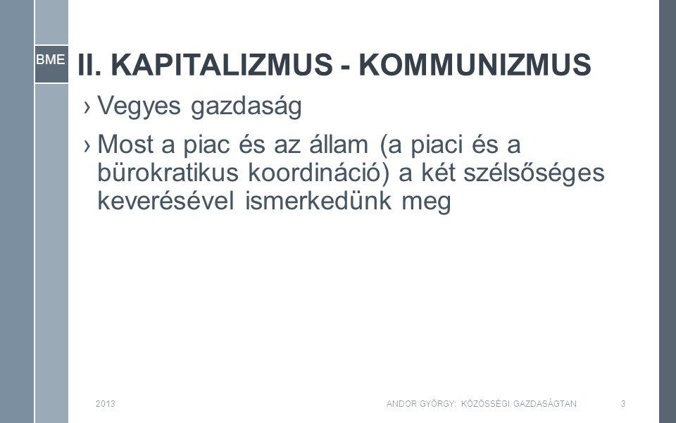 BME II. KAPITALIZMUS - KOMMUNIZMUS ›Vegyes gazdaság ›Most a piac és az állam (a piaci és a bürokratikus koordináció) a két szélsőséges keverésével ism