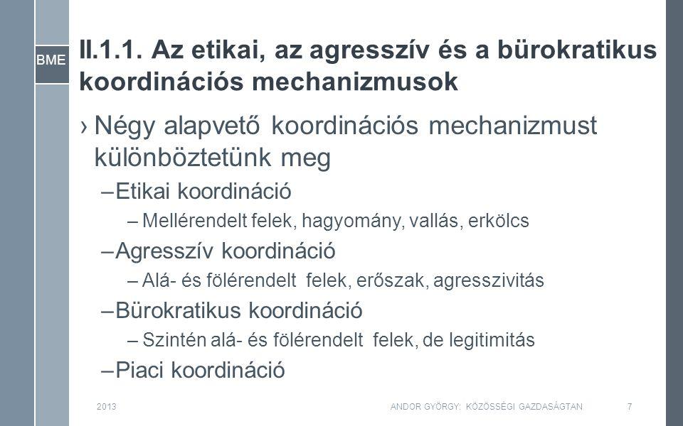 BME II.1.1. Az etikai, az agresszív és a bürokratikus koordinációs mechanizmusok ›Négy alapvető koordinációs mechanizmust különböztetünk meg –Etikai k