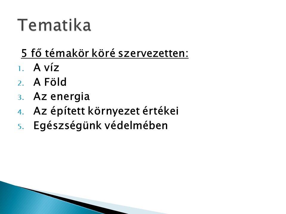 5 fő témakör köré szervezetten: 1. A víz 2. A Föld 3.