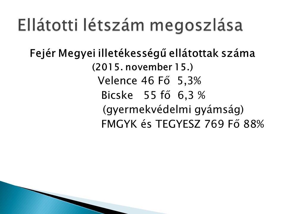 Fejér Megyei illetékességű ellátottak száma (2015.