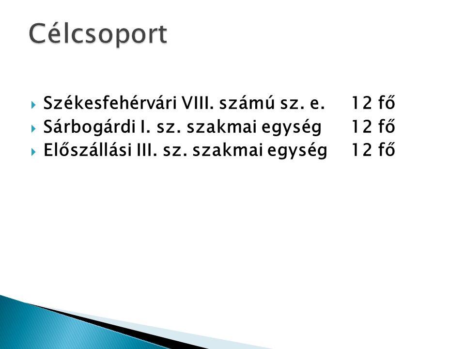  Székesfehérvári VIII. számú sz. e. 12 fő  Sárbogárdi I.