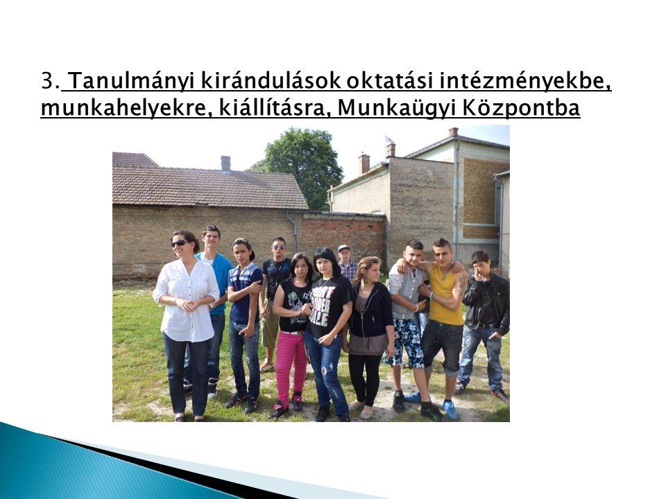 3. Tanulmányi kirándulások oktatási intézményekbe, munkahelyekre, kiállításra, Munkaügyi Központba