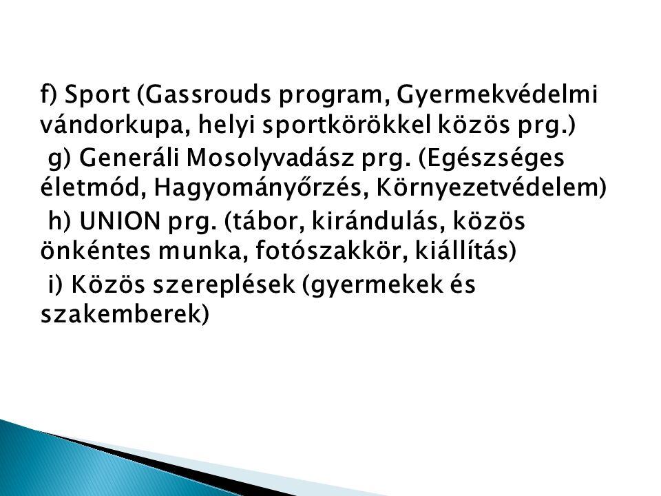f) Sport (Gassrouds program, Gyermekvédelmi vándorkupa, helyi sportkörökkel közös prg.) g) Generáli Mosolyvadász prg.