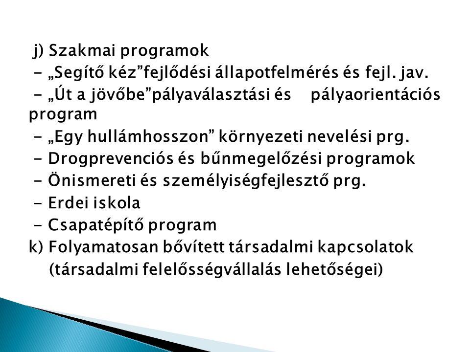 """j) Szakmai programok - """"Segítő kéz fejlődési állapotfelmérés és fejl."""