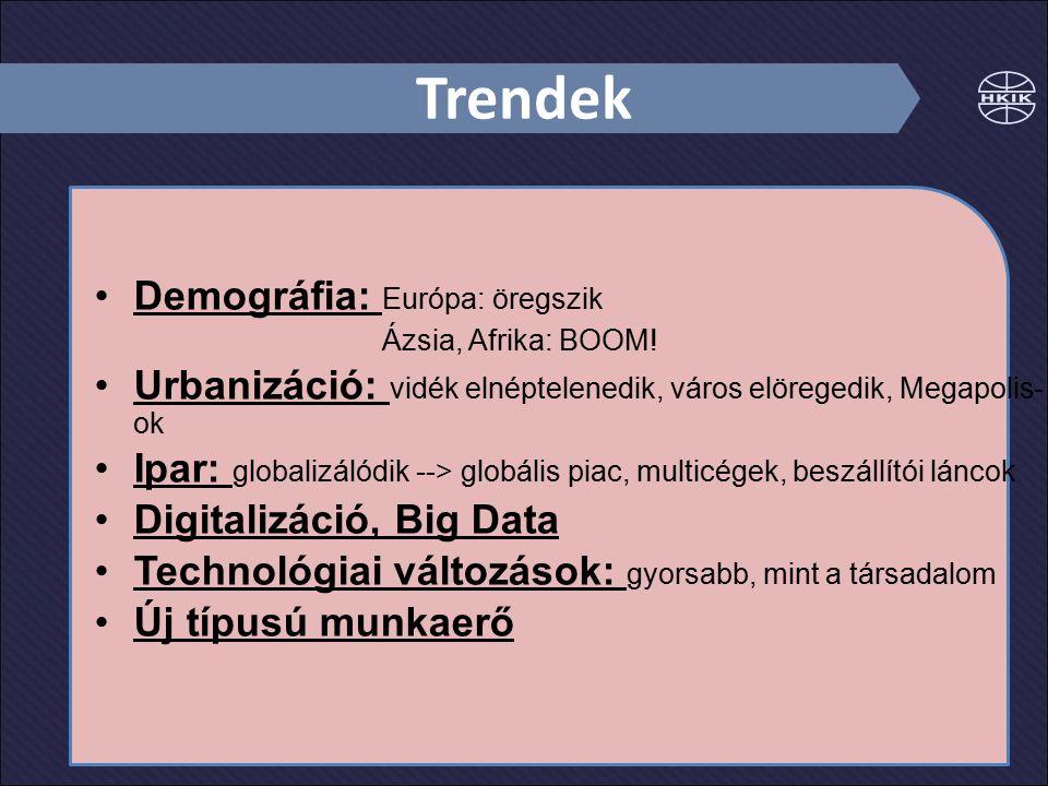 Trendek Demográfia: Európa: öregszik Ázsia, Afrika: BOOM! Urbanizáció: vidék elnéptelenedik, város elöregedik, Megapolis- ok Ipar: globalizálódik -->