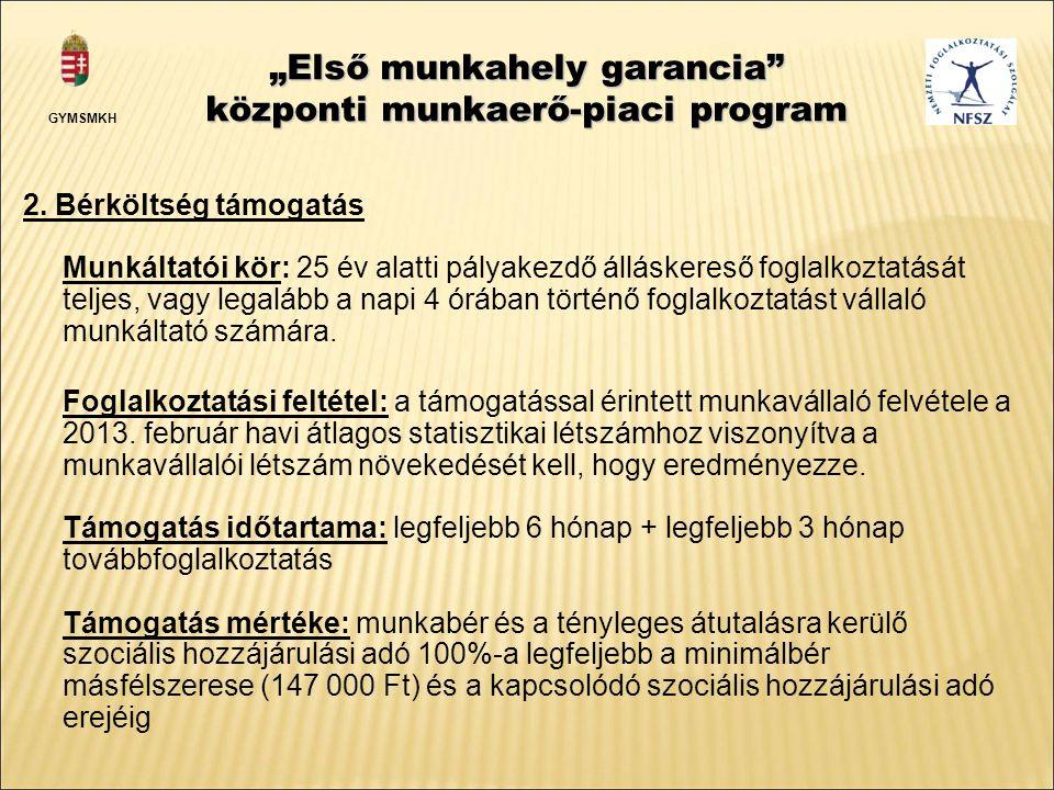"""""""Első munkahely garancia központi munkaerő-piaci program 2."""