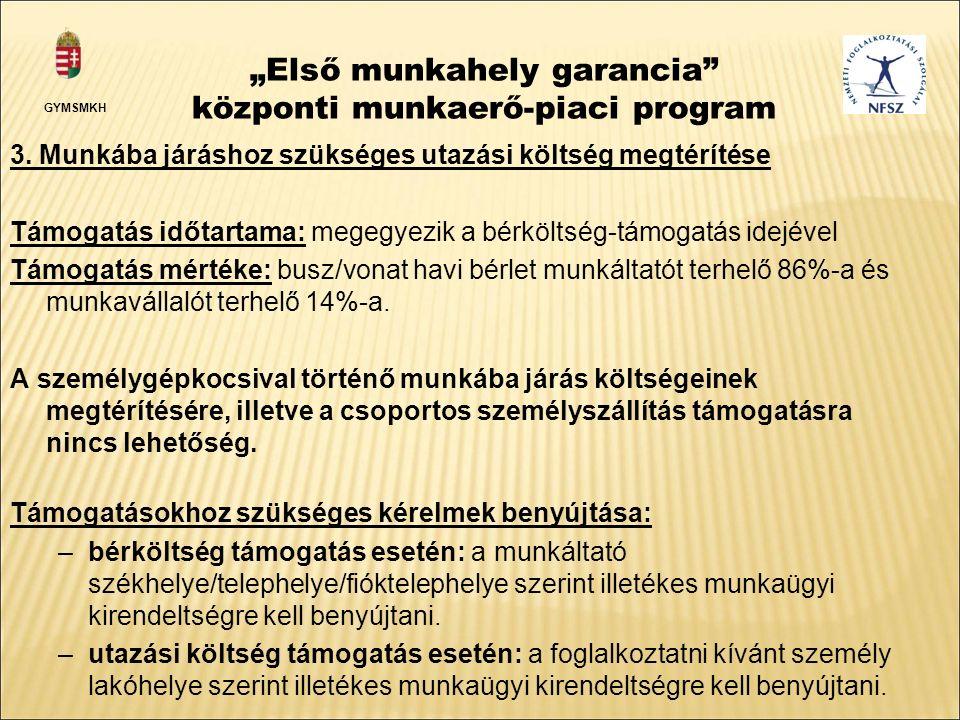 """""""Első munkahely garancia központi munkaerő-piaci program 3."""