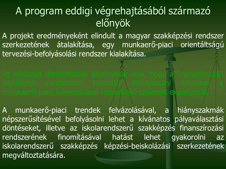 A program eddigi végrehajtásából származó előnyök A projekt eredményeként elindult a magyar szakképzési rendszer szerkezetének átalakítása, egy munkae