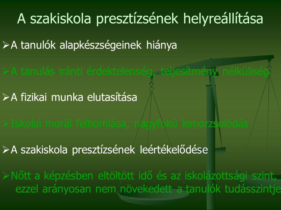 A program eddigi végrehajtásából származó előnyök A projekt eredményeként elindult a magyar szakképzési rendszer szerkezetének átalakítása, egy munkaerő-piaci orientáltságú tervezési-befolyásolási rendszer kialakítása.