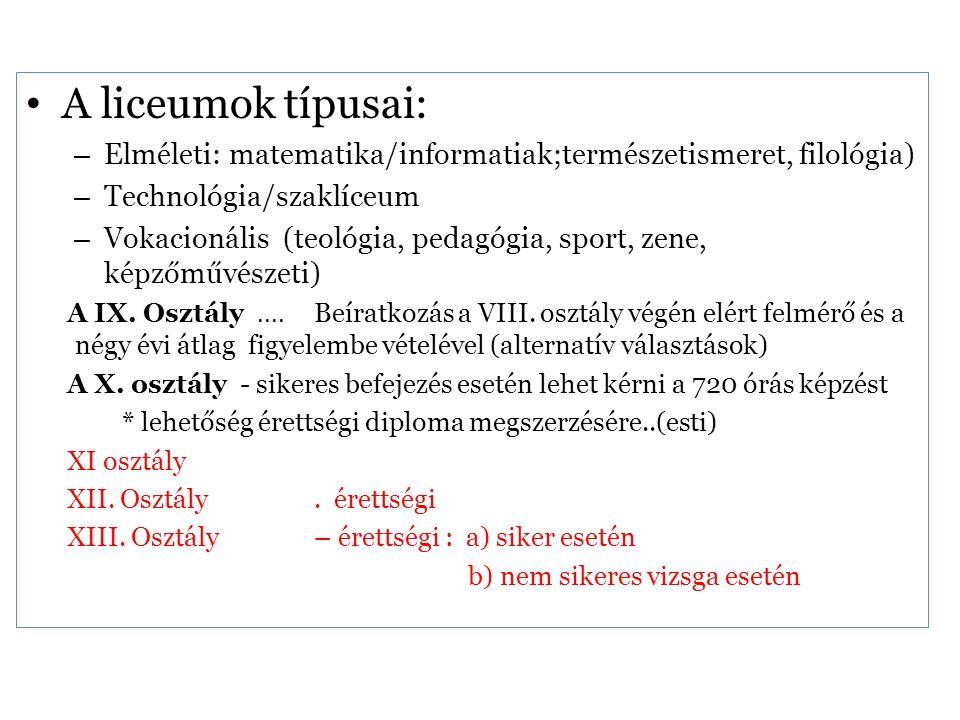 A liceumok típusai: – Elméleti: matematika/informatiak;természetismeret, filológia) – Technológia/szaklíceum – Vokacionális (teológia, pedagógia, sport, zene, képzőművészeti) A IX.
