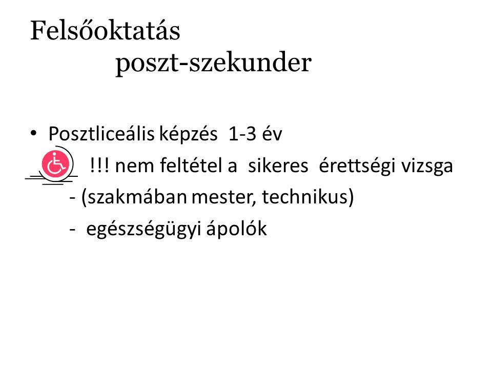 Felsőoktatás poszt-szekunder Posztliceális képzés 1-3 év !!.