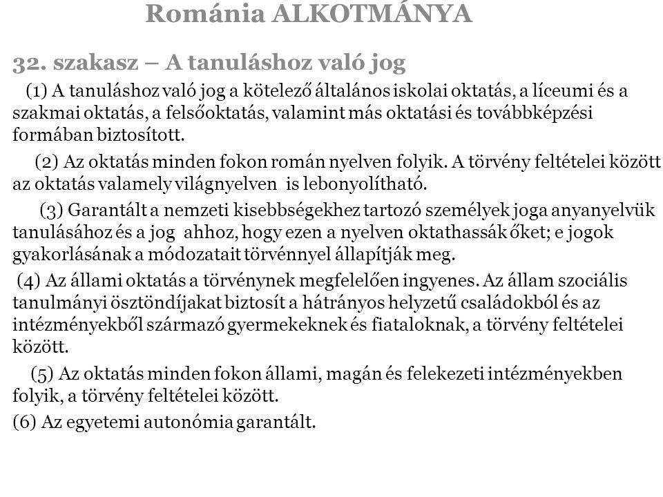 Románia ALKOTMÁNYA 32.