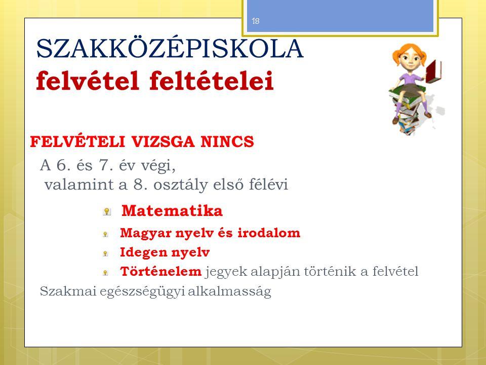 SZAKKÖZÉPISKOLA felvétel feltételei FELVÉTELI VIZSGA NINCS A 6.