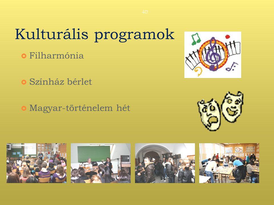 Kulturális programok  Filharmónia  Színház bérlet  Magyar-történelem hét 40