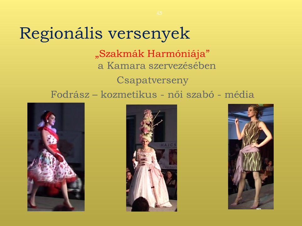 """Regionális versenyek """"Szakmák Harmóniája a Kamara szervezésében Csapatverseny Fodrász – kozmetikus - női szabó - média 43"""