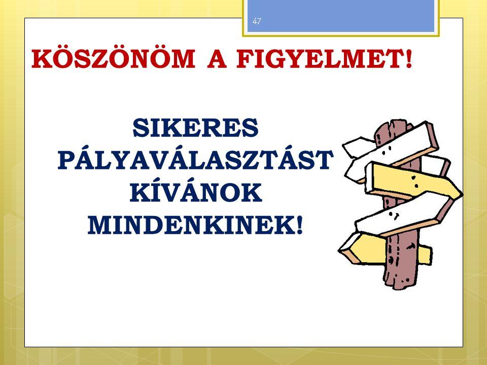 KÖSZÖNÖM A FIGYELMET! SIKERES PÁLYAVÁLASZTÁST KÍVÁNOK MINDENKINEK! 47