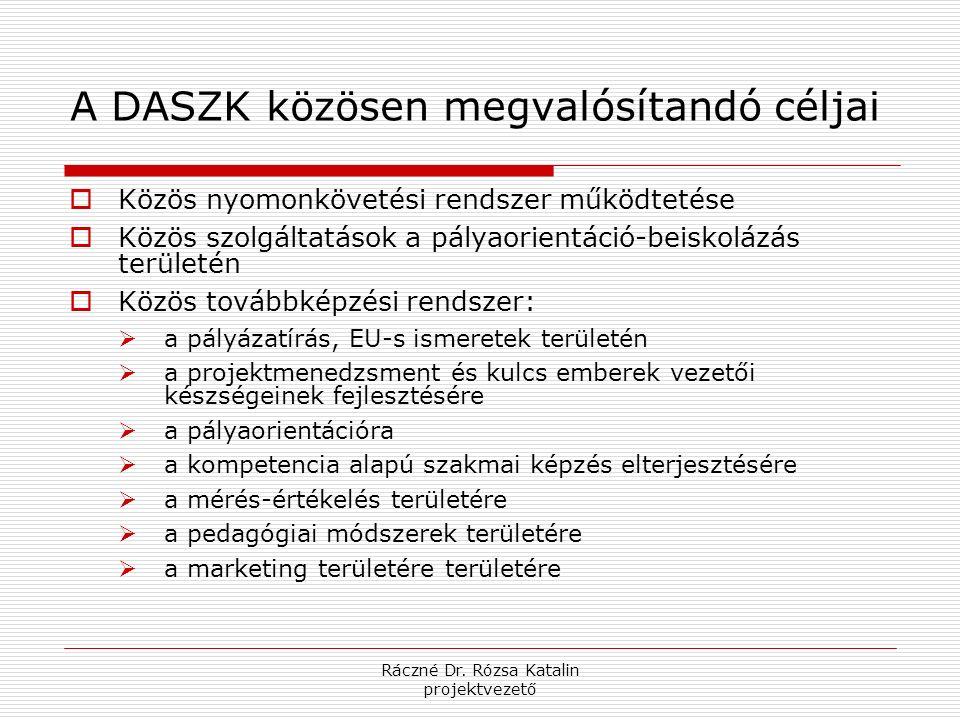Ráczné Dr. Rózsa Katalin projektvezető A DASZK közösen megvalósítandó céljai  Közös nyomonkövetési rendszer működtetése  Közös szolgáltatások a pály