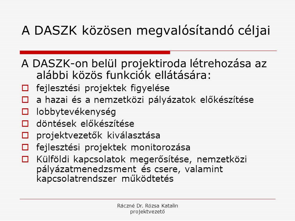 Ráczné Dr. Rózsa Katalin projektvezető A DASZK közösen megvalósítandó céljai A DASZK-on belül projektiroda létrehozása az alábbi közös funkciók ellátá