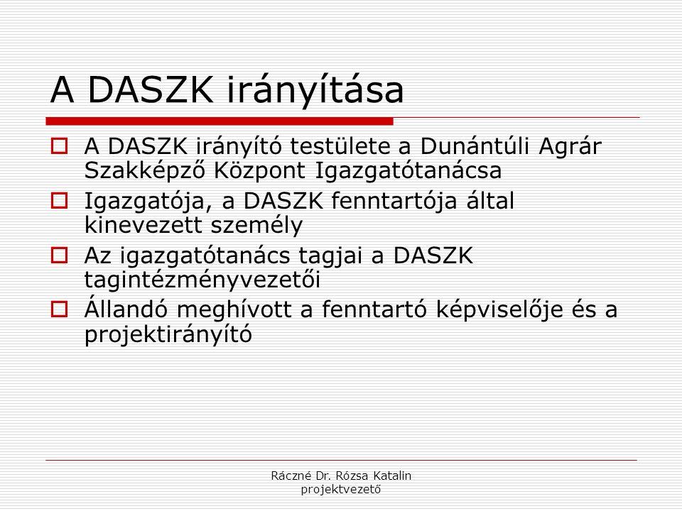 Ráczné Dr. Rózsa Katalin projektvezető A DASZK irányítása  A DASZK irányító testülete a Dunántúli Agrár Szakképző Központ Igazgatótanácsa  Igazgatój